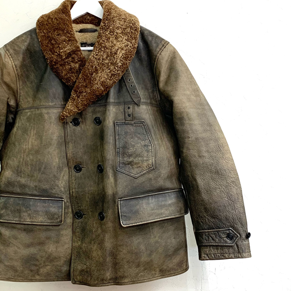 Double RL Double Breasted Leather Car Coat 買取りました